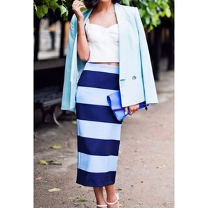 NWT Zara Woman Blue Stripe Knit Midi Skirt